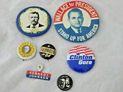 7 Political Buttons Goldwater Wallace Kennedy Johnson Wilson Marshall Clinton