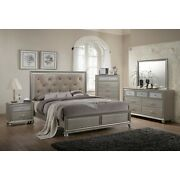 Modern Champagne Faux Finish 4pc King Size Bedroom Set Bed Dresser Mirror Ns