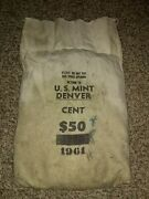 1961-d 50. Mint Sewn Bag Lincoln Cents Bu 5000 Copper- 100 Rolls- Loose Coins
