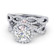 Round Cut 1.80 Ct Real Diamond Engagement Band Set 14k White Gold Size Selective