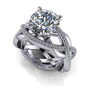 950 Platinum Solitaire Round Cut 1.20 Ct Real Diamond Wedding Ring Size L M N O