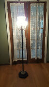 Vintage Torchiere Floor Lamp W/shade Stone Base