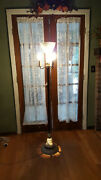 Vintage Torchiere Floor Lamp W/shade Carved Stone Base