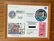 1992 Nasa Sts-50 Usml-1 Flag And Patch Flown Aboard Columbia -- Framed 12x16