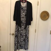 Chicoandrsquos Maxi Dress And Cardigan Sweater Sleeveless Blue And White Dress Size 2
