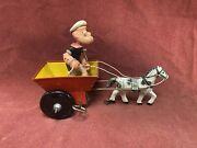 Popeye Horse And Cart Wind Up Vintage Tin Toy Working With Box - Marx Toys