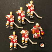 Vintage Gretzky Overtime Buddy L Table Rod Hockey Team - Calgary Flames W/ Puck