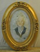 Bubble Glass Curved Antique Picture Frame Convex 24.5 Gold Tone Oval Wood Wall