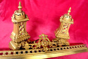 Antique French Vintage Brass Bronze Fire Guard Fire Dog Complete