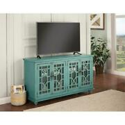 Bowery Hill 63 Tv Stand In Antique Teal Green Finish