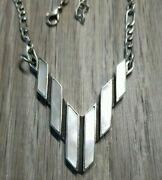 Sterling Silver Inlaid Mother Of Pearl Inlaid 17 Figaro Necklace Signed S