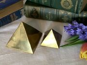 Vintage Heavy Brass Pyramid Paperweights Desk Study Art Deco Egyptian Scul