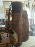 Vintage Wicker And Leather Golf Bag Two Storage Compartments