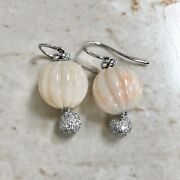 Vintage 18k White Gold Coral And Diamond Drop Earrings By Carvin French