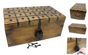 Treasure Chest Wooden Box With Antique Iron Lock And X-large 17 X 10 X 7.5