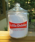 Rare Vintage Little Debbieandcopy Snack Cakes Container Cookie Jar Clear Glass