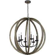 Feiss F3186/6wow/af Allier Chandelier Weathered Oak Wood And Antique Forged Iron