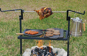 Rotisserie Grill Outdoor Campfire Spit Cooking Wood Bbq Pit Camp Kitchen 24x16