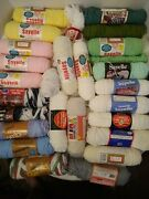 Large Yarn Lot Vintage Sayelle Red Heart Dazzleaire Etc.
