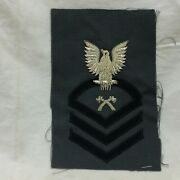 Vintage Military Patch Navy Carpenters Mate Cpo Chief Petty Officer Bullion Var