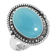 Blue Chalcedony Ring 925 Sterling Silver Handmade Jewelry Size 12 Pt30614