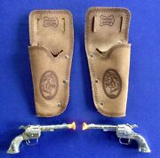 Vintage Hubley Smoky Toy Cap Gun Pair With Leather Holsters Original Usa