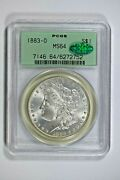 1883-o Pcgs Ms64 Morgan Silver Dollar In Old Green Holder With Cac Sticker