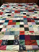Vintage 80s Hand Tie Yarn Embroidery Multi Fabric Patchwork Crazy Quilt 74x100