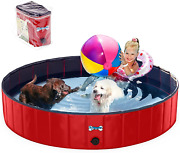 V-hanver Foldable Dog Pool Hard Plastic Collapsible Pet Bath Tub For Puppy Small