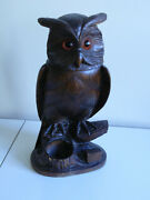 Late 19th/early 20thc Carved Wood Black Forest Tobacco Jar In The Form Of An Owl