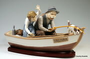 Lladro Fishing With Gramps W/base 5215 - Grandpa Boy Dog In A Boat - 1250