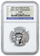 2007 W 50 1/2 Oz Reverse Proof Platinum Eagle From 10th Anniv Set Ngc Pf69