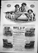 Antique Old Print Hudsons Soap Four Puppies Maple And Co Furniture Chairs 1891