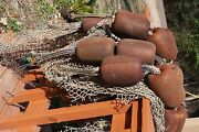 2 Authentic Commercial Fishing Net With Rope Floats Set Of 2