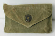 Wwii Us Army M1942 First Aid Bandage Canvas Pouch With Camouflaged Gauze Pack
