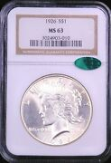 1926 Peace Silver Dollar Ngc Ms63 Cac Original White With Great Luster Pq Ge774