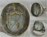 Rare Georgian Rock Crystal Carved Intaglio Silver Celtic Family Crest Clan Ring