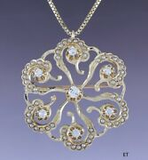 C1910 Antique 14k Gold Diamond And Seed Pearl Pin / Pendant W 14k Gold Chain