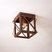 1 Bulb Flush Mount Single Ceiling Light With Folded Bars In Rustic Tin Primitive