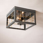 Flush Mount 2 Bulb Double Ceiling Light With Brass Bars Primitive Country Tin