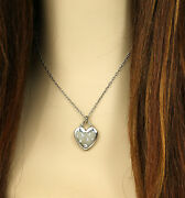 And Co. 18k White Gold .20ct. Diamond Heart Pendant And Chain Necklace