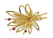 And Co. Vintage 14k Yellow Gold And Ruby Floral Sprig Brooch Pin Germany
