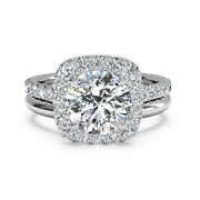 Real Diamond Engagement Band Set Round Cut 0.90 Ct 14k White Gold Size Selective