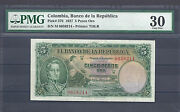Colombia Banknotes 5 1927 Pmg Certified 30 Very Fine