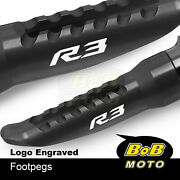 Laser Logo Front Foot Pegs Pedal Rest For Yamaha Yzf R3 15-2020 16 17 18 19