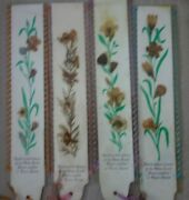 Vintage Hand Picked Flowers From The Holy Land Jerusalem Bookmark X 4