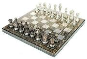14 Collectible Full Brass Chess Set Hand Carved With 100 Brass Pieces/coins.