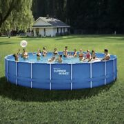 Brand New Summer Waves 24 Ft Active Frame Round Above Ground Swimming Pool