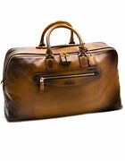 Santoni 48-stunden Travel In Cognac-brown Gradient From Leather Antique Finish