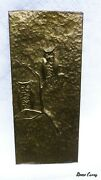 Vtg Brass Relief Wall Hanging Art - Hand Hammered Owls In Tree